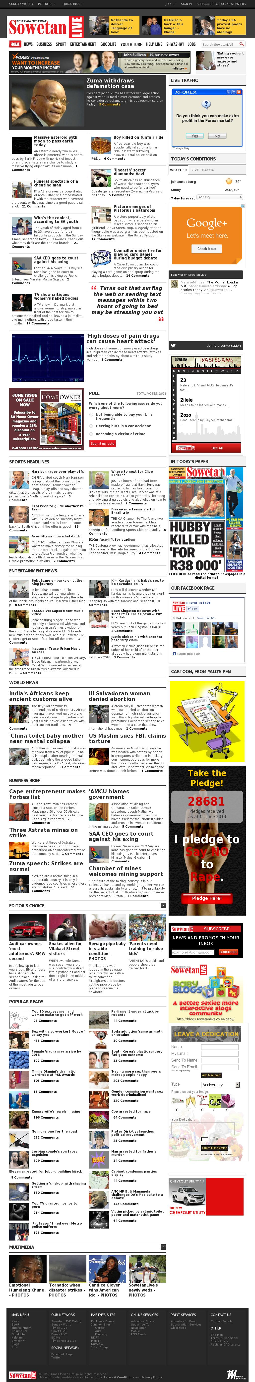 Sowetan Live at Saturday June 1, 2013, 12:24 a.m. UTC