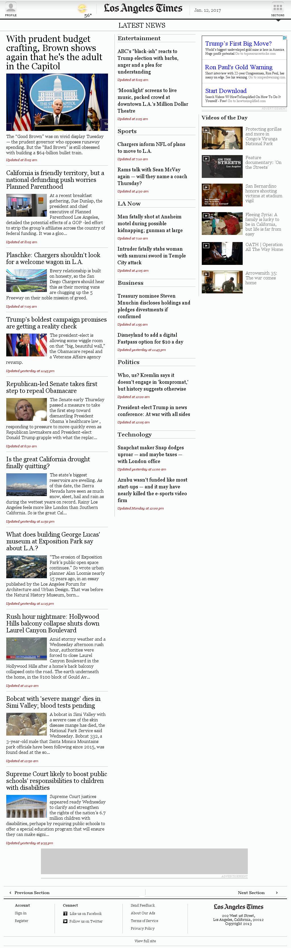 Los Angeles Times at Thursday Jan. 12, 2017, 10:10 a.m. UTC