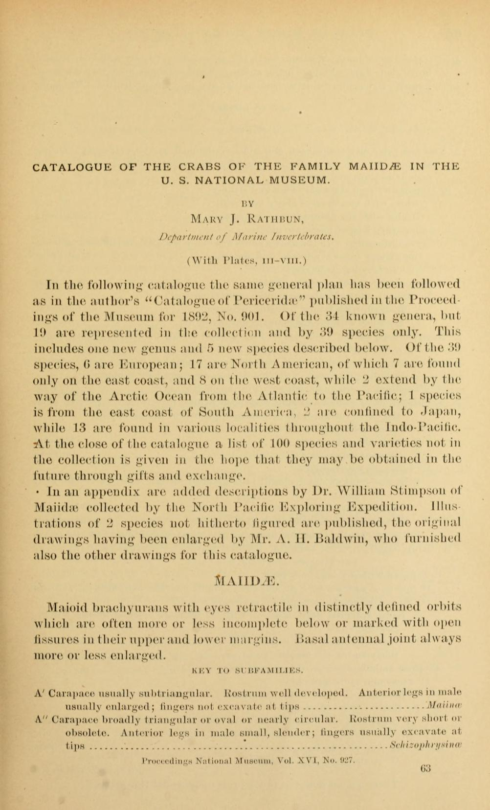 Catalogue of the Crabs of the Family Maiidæ in the U. S. National Museum